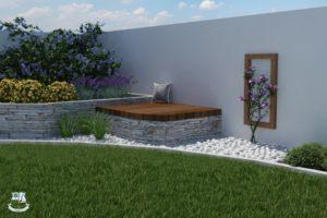 Egy hatalmas méretű kerti pad